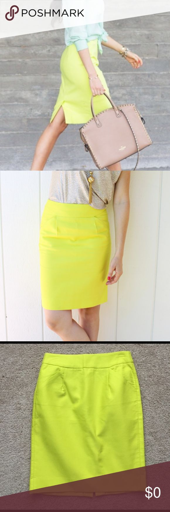 J CREW NWOT Neon Yellow 'The Pencil Skirt' J CREW Neon Yellow 'The Pencil Skirt'.  With Pockets.  NEVER WORN.  Size: 12 RSP: $110 J. Crew Skirts Pencil