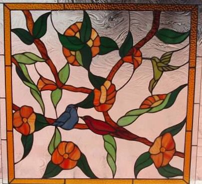 Custom stained glass window with birds and flowers. Long Island Custom Stained Glass www.licustomstainedglass.com
