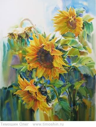 Girasoles-------interested in the colors used in the leaves.