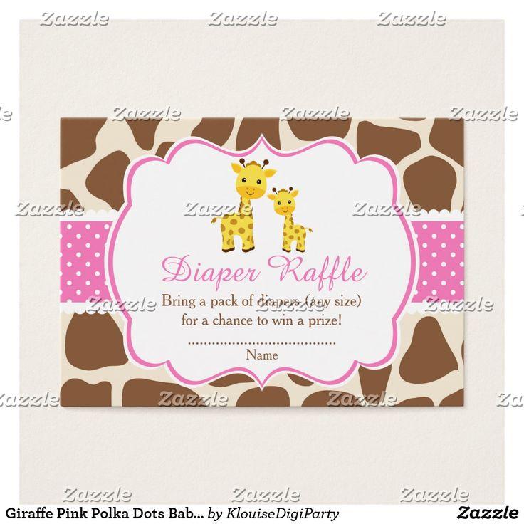 Giraffe Pink Polka Dots Baby Shower Diaper Raffle Business Card
