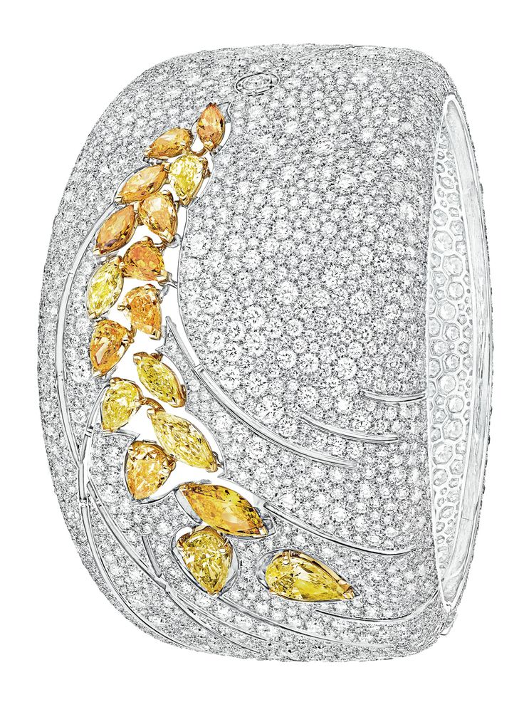 "Bracelet from ""Les Blés De Chanel"" Fine Jewelry collection in 18K White and Yellow Gold set with 3 fancy-cut intense/vivid Yellow Diamonds (2.7 cts), 2639 brilliant-cut Diamonds (37.9 cts), 2 marquise-cut  intense/vivid yellow Diamonds (1.1 ct) and 12 fancy-cut  multicoloured Diamonds (4.5 cts) - July 2016."