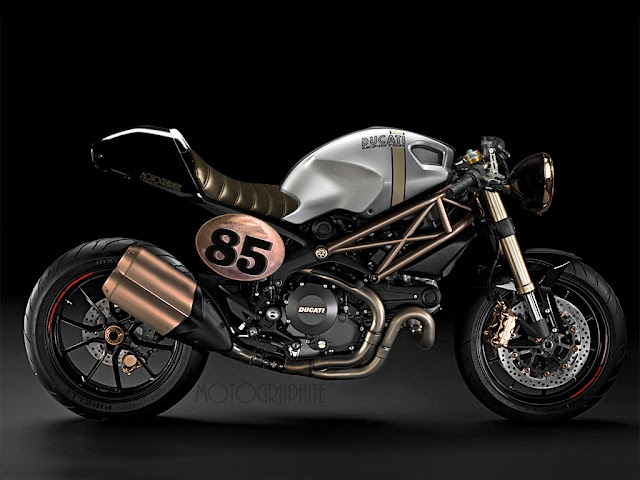 The Ducati Monster is part sport bike and part cafe racer, but this one is just plain pretty.