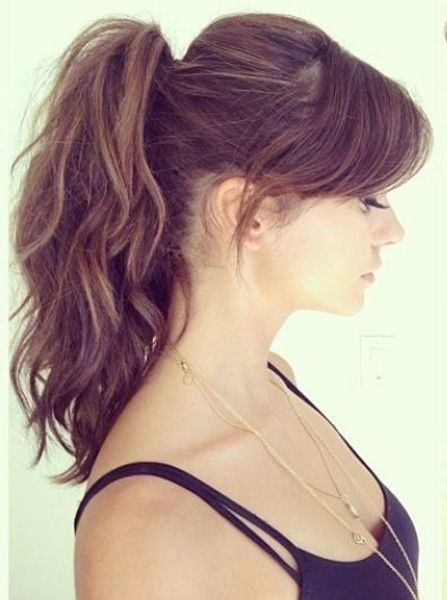 ponytail haircut layers gorgeous high ponytail with side swept bangs 2016 high 9917