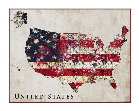 United States Map Watercolor Flag Map On A Neutral Background Fine