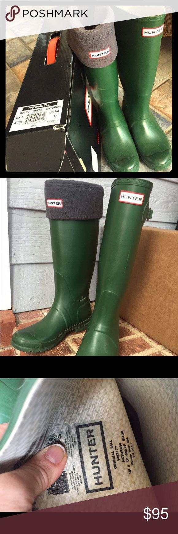 Tall Hunter Rain Boots (w/ Tall Hunter Socks) Includes Tall Dark Gray Hunter Socks Hunter Boots Shoes Winter & Rain Boots
