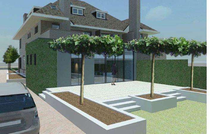 traptreden van beton, bloembakken van beton, betonnen terras vloer.