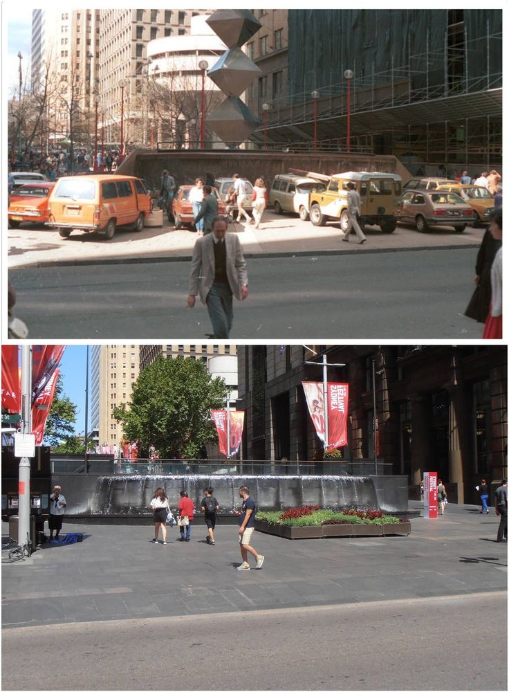 Martin Place during train strike of 1984 and same view in 2016. [City of Sydney archives > Kevin Sundgren. By Kevin Sundgren]