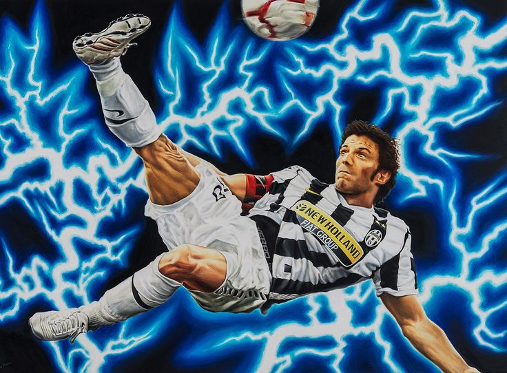 Alessandro Del Piero, Juventus F.C. - Artwork by artist Andrea Del Pesco Oil painting on canvas, size cm. 110x80