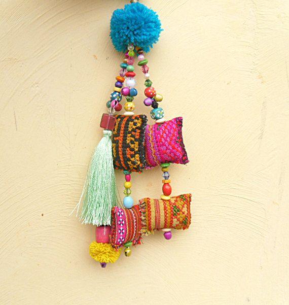 Mint Green Silk tassel Purse Charm Hmong fabric pompoms beautiful beadwork