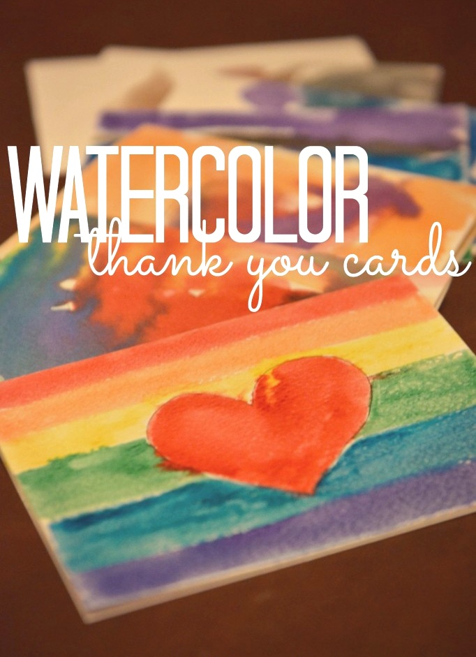 Watercolor thank you cards.  Such a fun & easy craft project for kids!