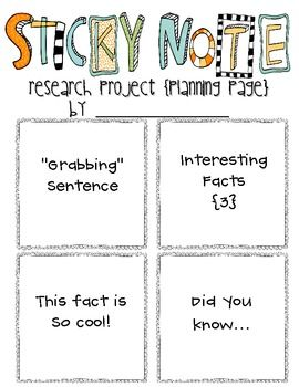 Sticky Note Research Projects--the EASIEST way to do research with elementary kids!