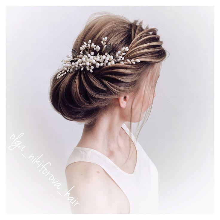 olga_nikiforova_hair прическа на среднюю длину волос, быстрая прическа, прическа для свадьбы, прическа для невесты, пучок из волос, текстурная прическа