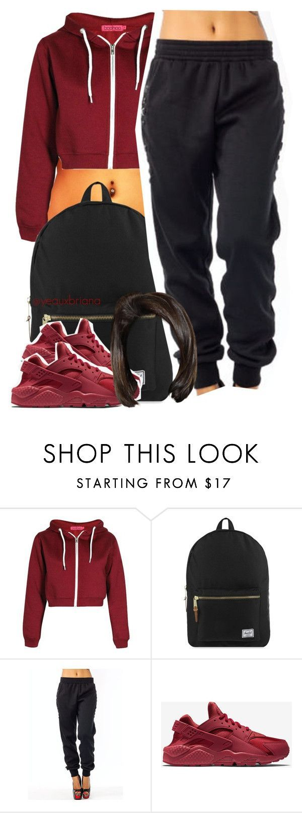 """""""Gina Waters"""" by yeauxbriana ❤ liked on Polyvore featuring Herschel Supply Co., NIKE, women's clothing, women, female, woman, misses and juniors"""