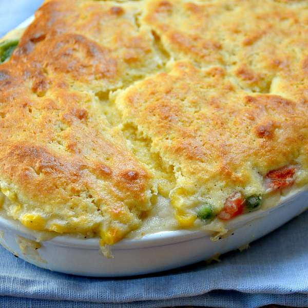 Chicken Pot Pie Casserole makes homemade chicken pot pie easy to make! A homemade filling is topped with a semi-homemade cornbread crust and dinner is done!