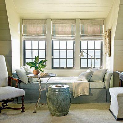 NooksDecor, Beach House, Romans Shades, Windows Seats, Reading Nooks, Window Seats, Steel Windows, Windows Treatments, Design