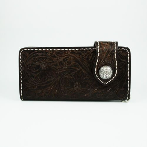 DARK BROWN HAND CARVED COW LEATHER HANDCRAFTED Men's BIKER BIFOLD LONG WALLET