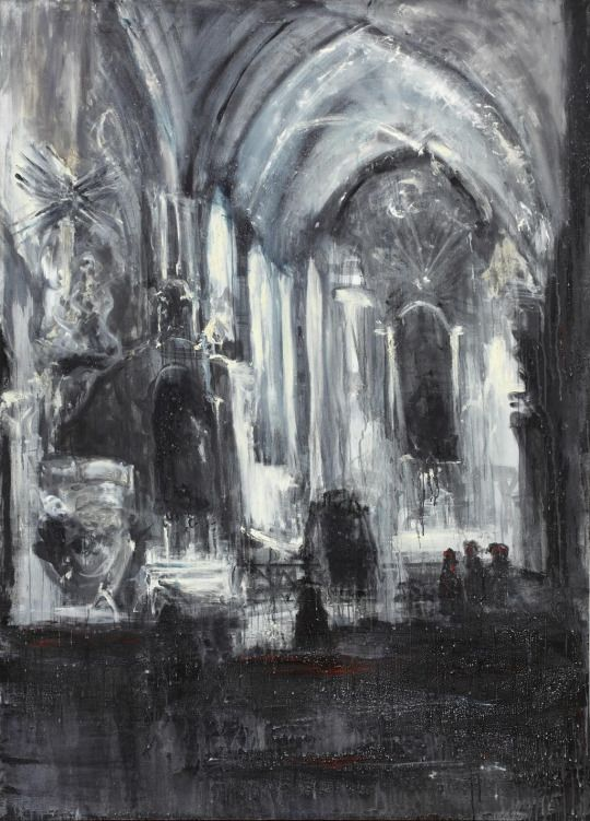 Jakub Špaňhel (Czech, b. 1976), Po mši v Předklášteří [After Mass in Předklášteří], 2003. Acrylic and oil on canvas, 220 x 160 cm.