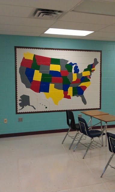 High School Classroom Wall Decor : Painting a map on classroom wall decor