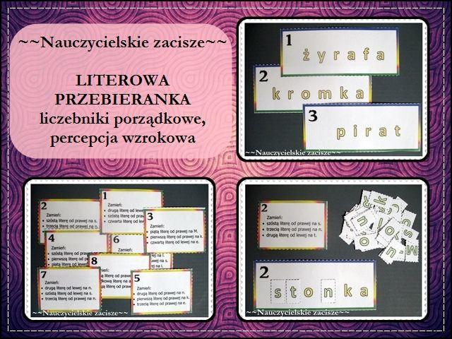 Literowa przebieranka - liczebniki porządkowe, czytanie ze zrozumieniem