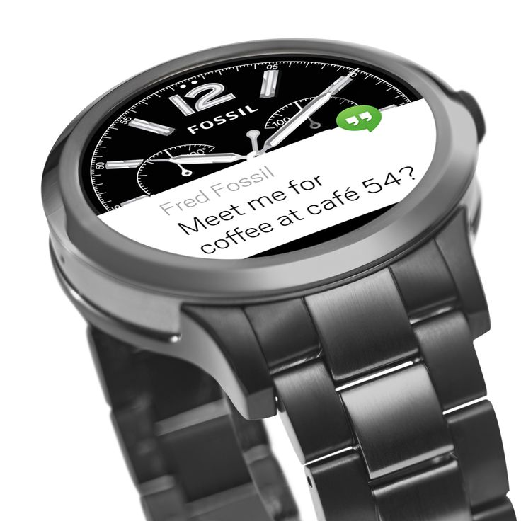 Q Founder Digital Display Two-Tone Stainless Steel Touchscreen Smartwatch - Fossil