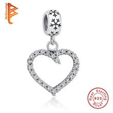 Vybrané 925 Sterling Silver Hollow Heart Crystal Charm Korálky Fit Původní Pandora náramek náramek Přívěsky pravých šperků (Čína (pevninská část))