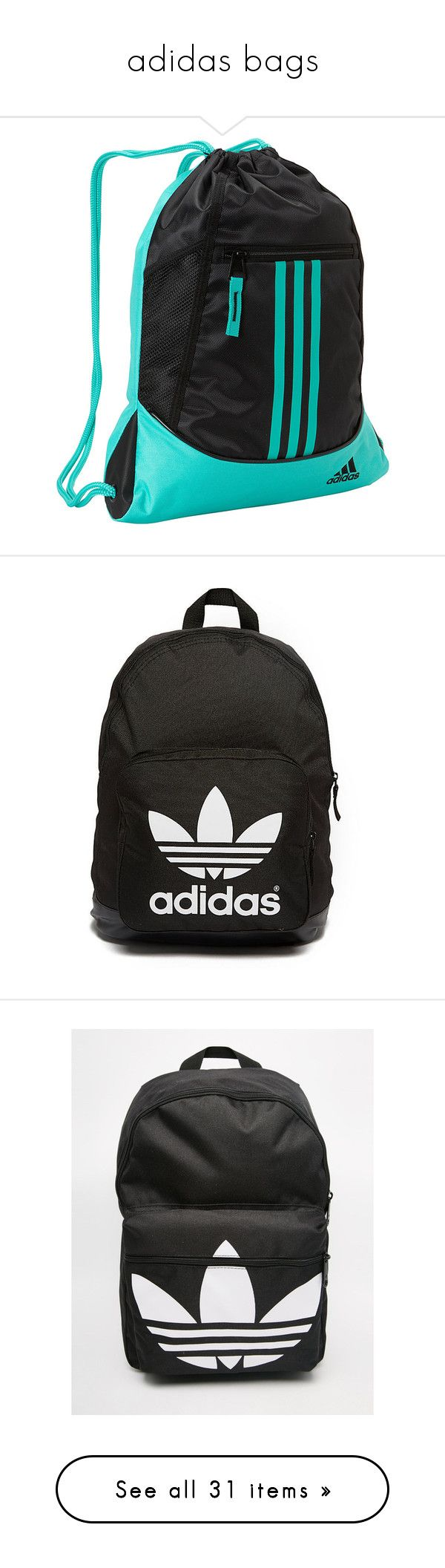 """adidas bags"" by curlprvncess ❤ liked on Polyvore featuring bags, backpacks, black, stripe backpack, mesh backpack, adidas backpack, pocket backpack, adidas bag, luggage and accessories"