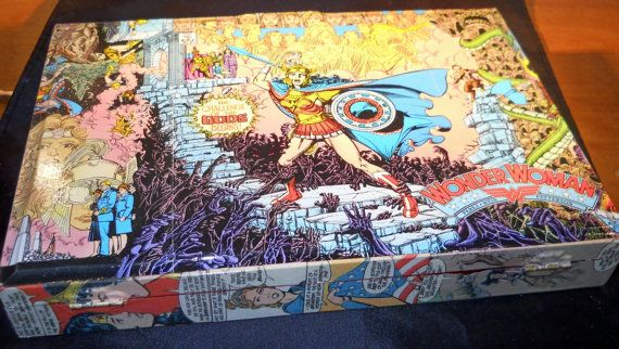 Upcycled Wonder Woman Wooden Cigar Box by ReInnovations on Etsy