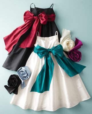 Flower girl dress, white with purple bow