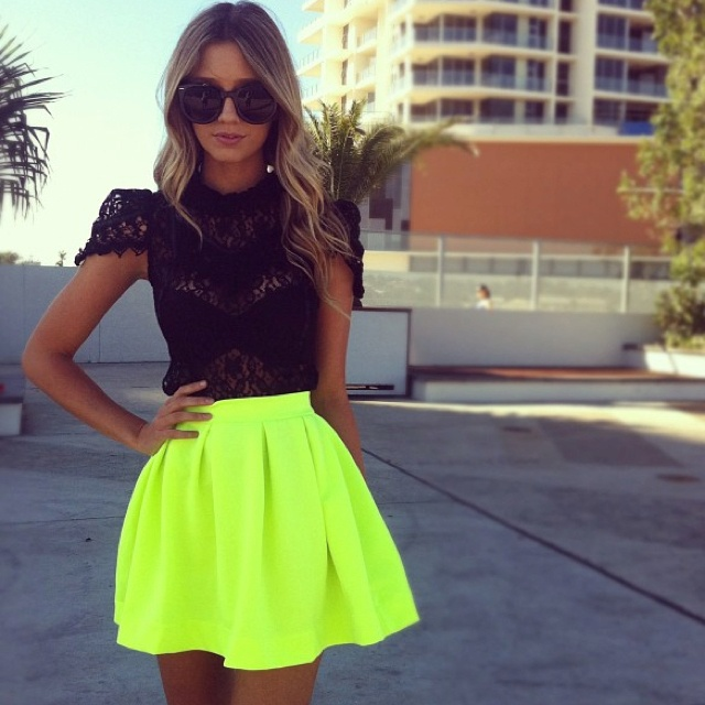 this.: Black Lace, Fashion, Neon Skirt, Style, Skirts, Lace Top, Clothes, Dress, Outfit