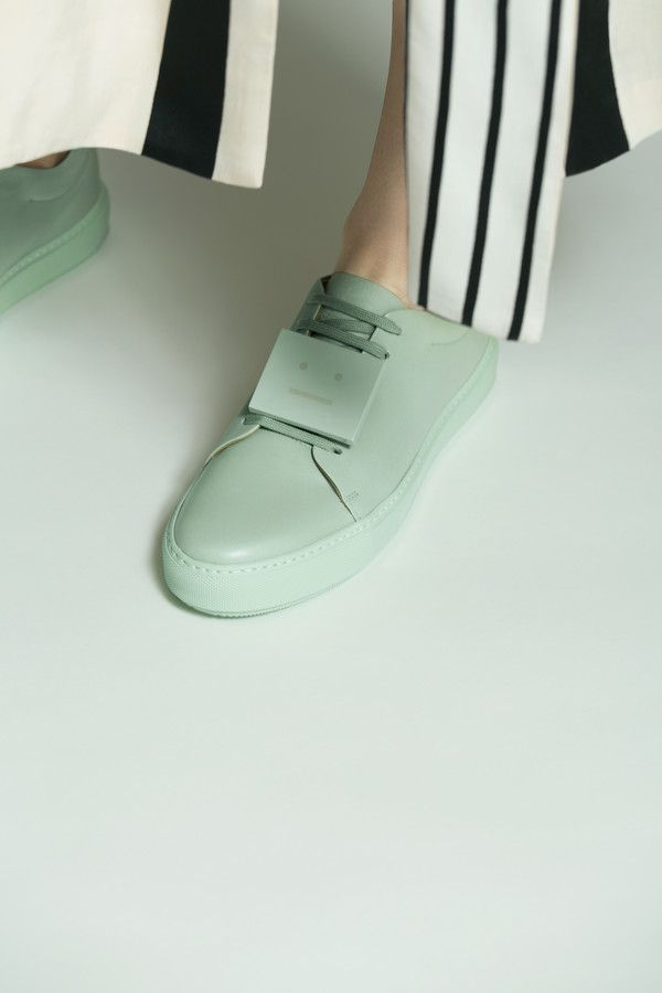 Acne Studios Adriana turnup misty jade Nappa leather sneakers