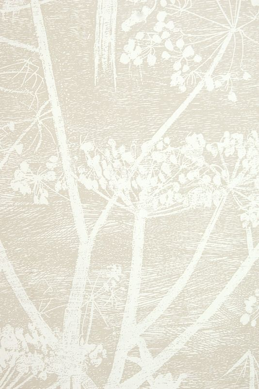 Cow Parsley Restyled Wallpaper Beige wallpaper with white cow parsley print.