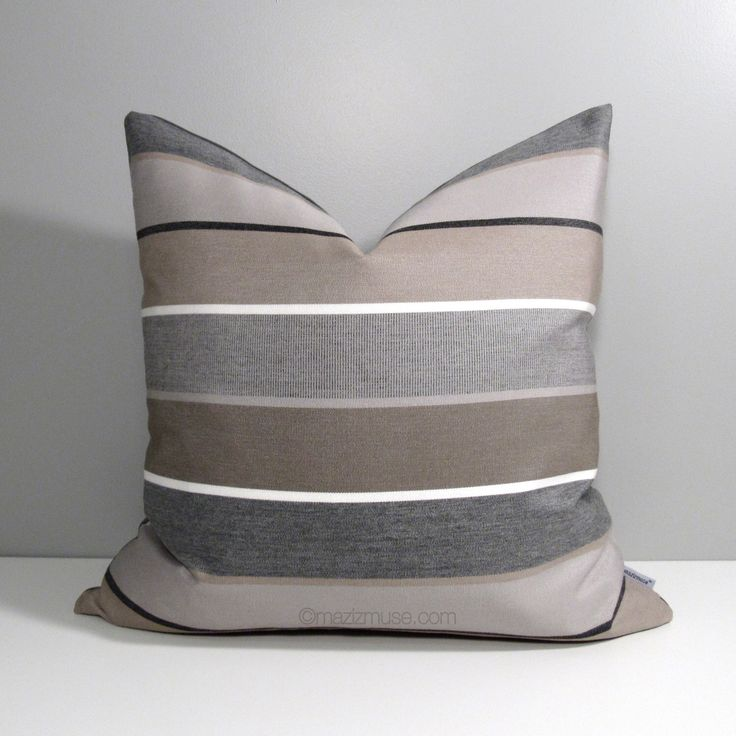 Brown & Grey Outdoor Pillow Cover, Decorative Striped Throw Pillow Case, Taupe Stripes, Modern ...