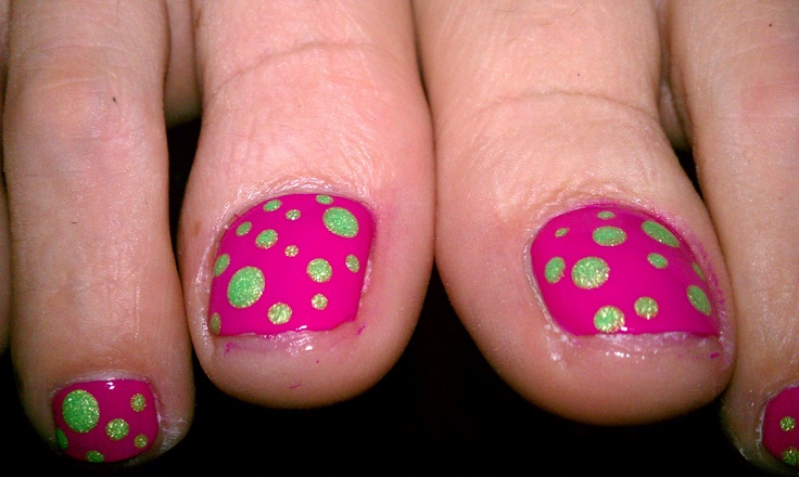 pedicure, multi sized polka dots in neon green on top of bright pink, work done by Erin Beckett