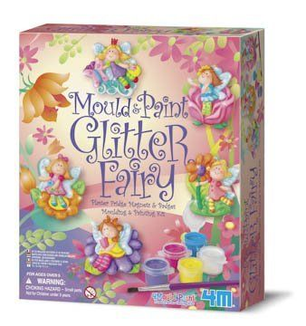 Kit includes everything you need to make 6 painted fairy pins or magnets. Comes with a mold with six fairy designs, plaster mix, paints, brush, glitter. Price : $9.27 #glitter #fairy #paintkit #paint #toysmith http://www.thinkfasttoys.com/Mould-And-Paint-Glitter-Fairy/dp/B00067U818