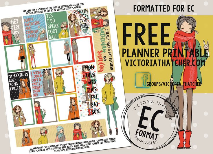 Free Printable Hey Girl Hey Planner Stickers from Victoria Thatcher