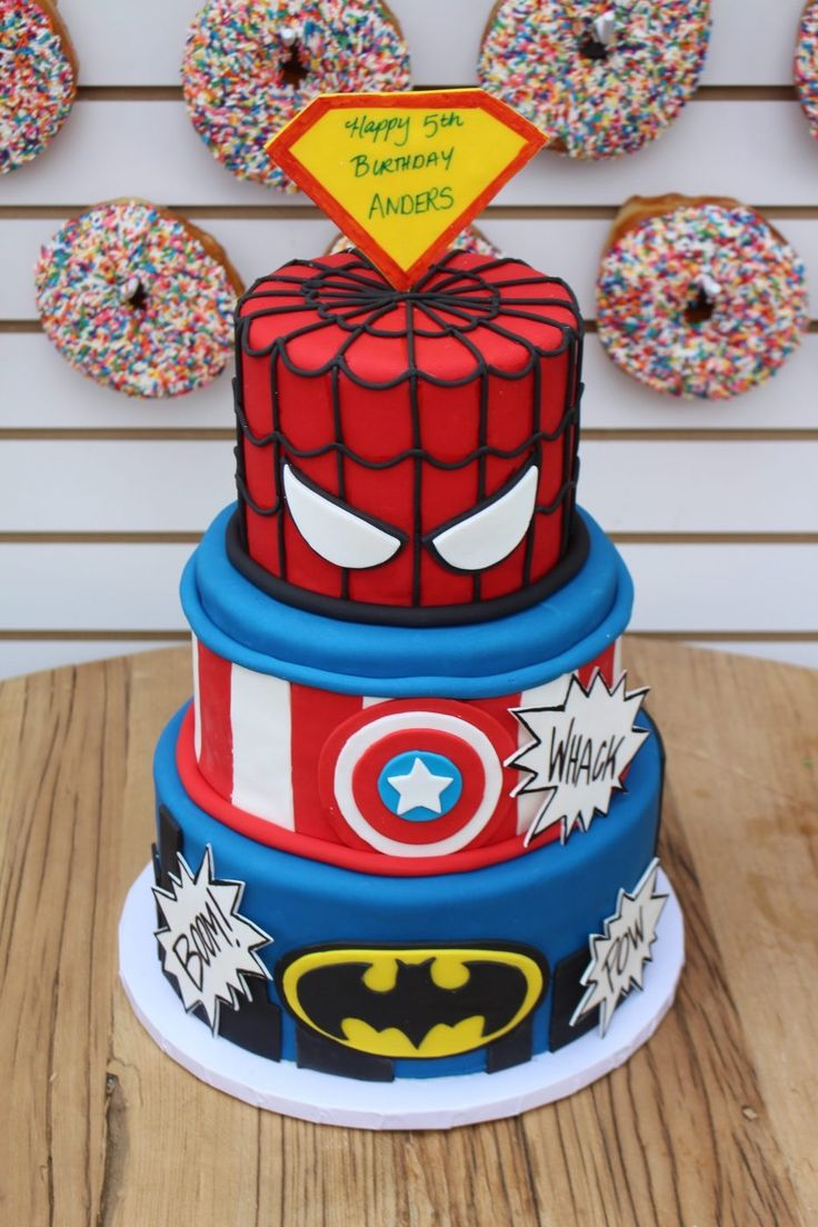 Every superhero needs a superhero cake! And a three tiered one at that! Spiderman, Captain America and Batman were the birthday boys favorites!