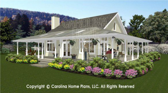 Sg 1280 3d back right view dream home pinterest 3d for Carolina cottage house plans