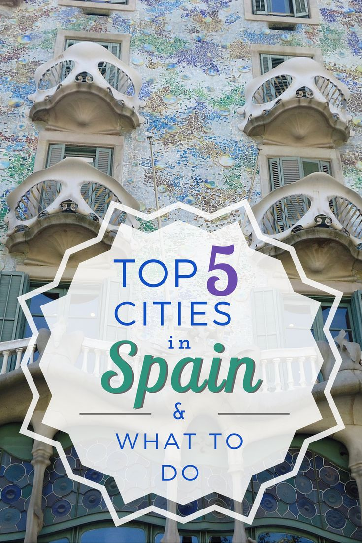 Best 5 cities to visit in Spain if you are there for one week. Includes tips on transportation, food, and free activities. Cities include Madrid, Barcelona, Toledo, Avila, and Segovia. Pin for later!
