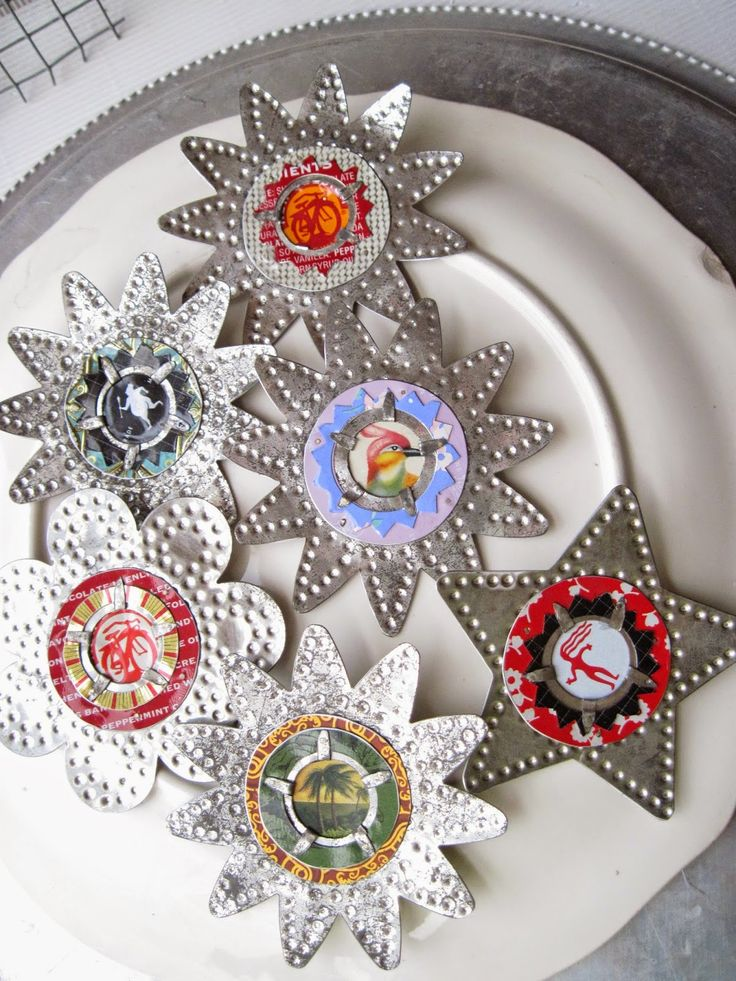 east street pins: Candle Reflector Brooches