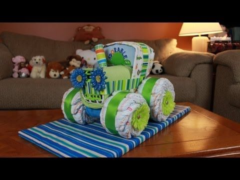 Some people are just so creative they blow my mind. I think this Tractor Diaper Cake is adorable. If my niece ever has a baby this will be perfect for her!!! (How To Make) - YouTube