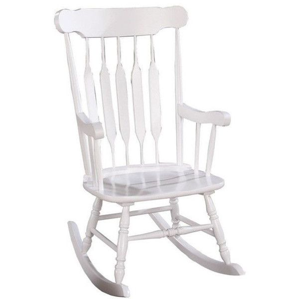 coaster slatted back rocking chair 166 liked on polyvore featuring home outdoors patio furniture outdoor chairs white frame white outdoor patio