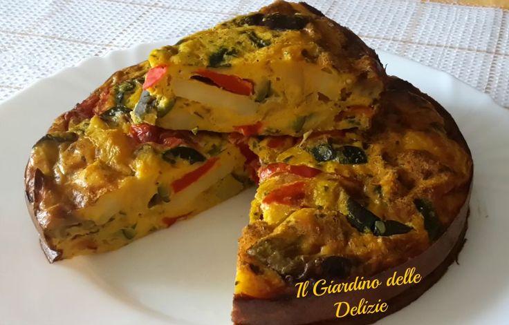 Torta con verdure grigliate, è una frittata_torta salata_ cucinata con verdure grigliate surgelate e cotta al forno, senza olio e burro, buona da asporto