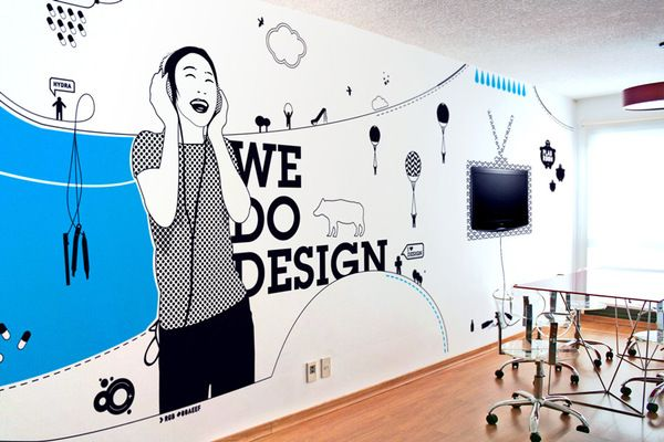 Illustration for hydramedialabs office web design company for Corporate mural