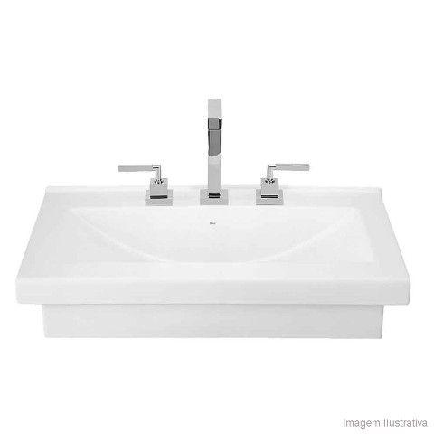 Cuba para banheiro de apoio ou sobrepor retangular 70x45cm L94 gelo Deca - Telhanorte