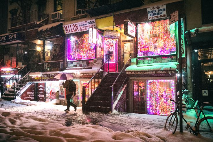 New York City - Winter Night with East Village Lights in the Snow