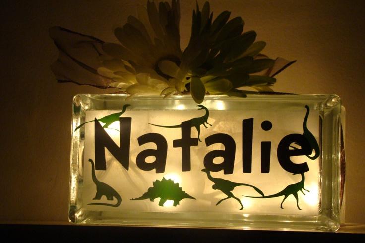 Glass Block Night light-Dinosaurs- room decor- vinyl lettering. $22.00, via Etsy.