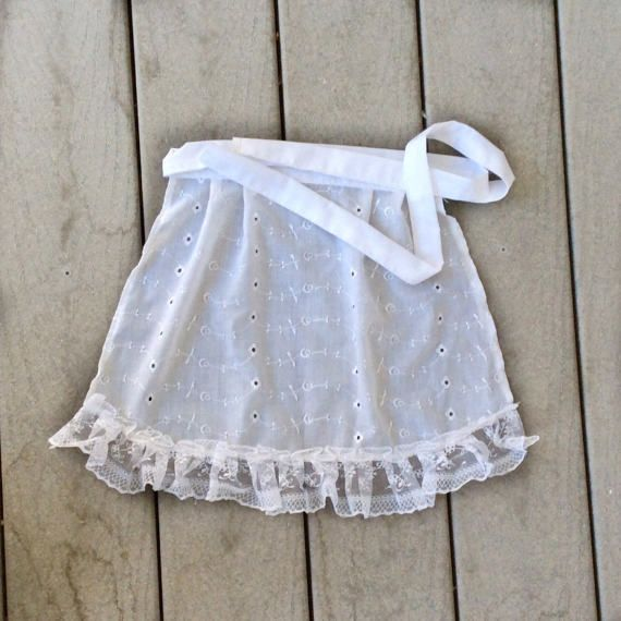 Eyelet White Cotton Lace ruffled apron, After Holiday gift for Girl French Maid apron, Light Blue Lace Ruffle Apron Old Fashioned cafe apron by blingscarves. Explore more products on http://blingscarves.etsy.com