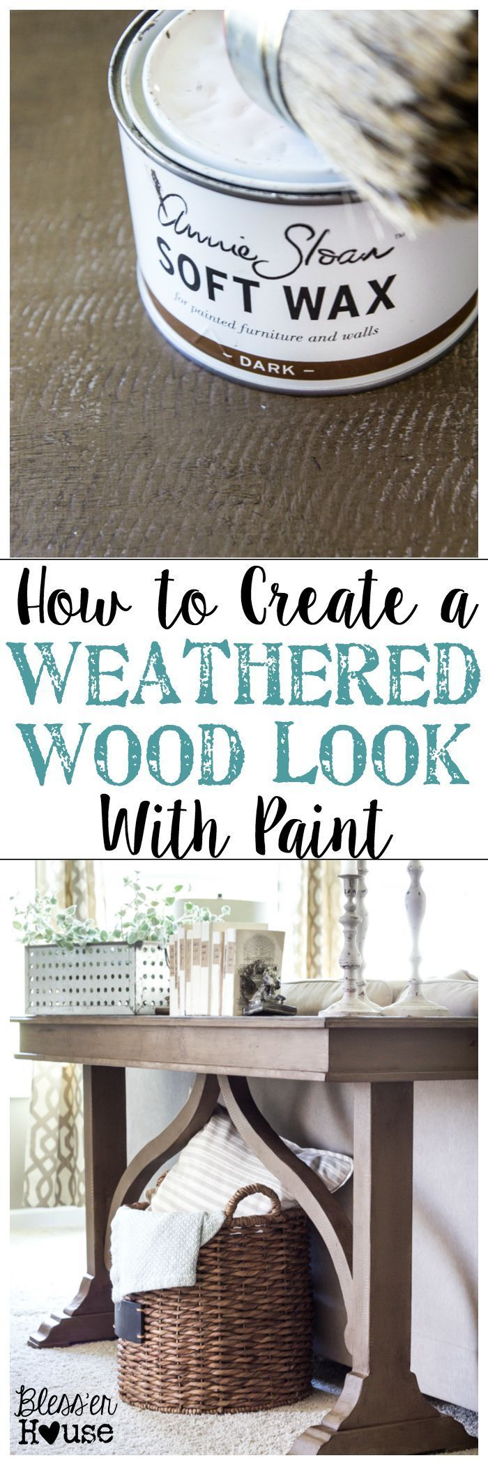 How to Create a Weathered Wood Look With Paint | http://blesserhouse.com - Quick and easy way to get a Restoration Hardware inspired look!