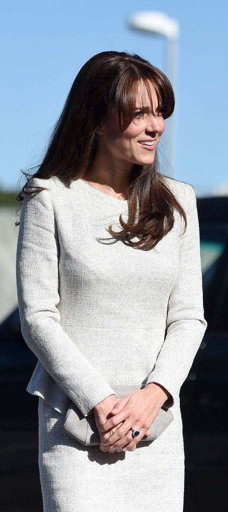 Kate MIddleton finished her look with her sapphire engagement ring.