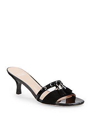 Tassa Slide Kitten-Heel Sandals